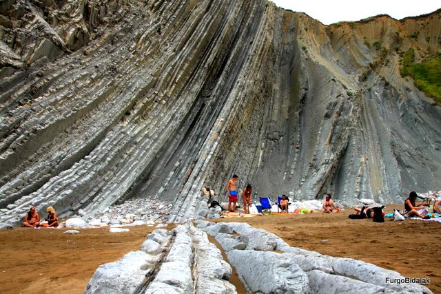 El flysch de Zumaia, playa de Itzurun.