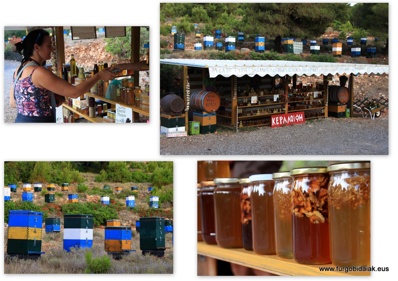 Puestos de miel, Lefkada, Grecia del Jónico